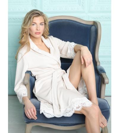 Бамбуковый женский халат Mirabella-cream (EFW)