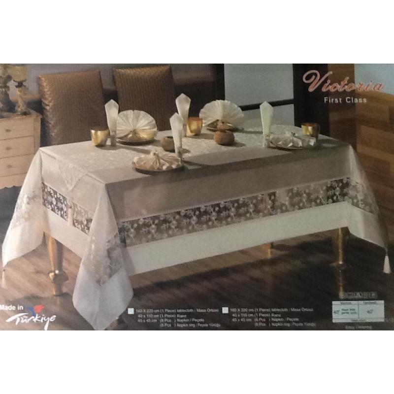Шикарная скатерть с 6-ю кольцами и салфетками VICTORIA MONO(160х220см)