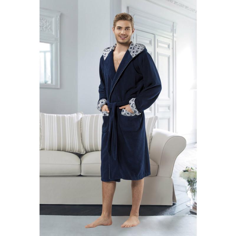 Стильный бамбуковый махровый халат с капюшоном 5071(синий)