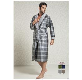 Мужской шелковый халат Steel gray(8015)