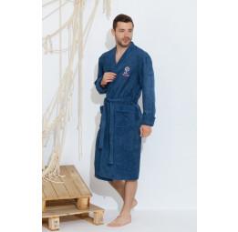 Махровый халат из бамбука SEAMAN(PECHE MONNAIE France 405blue)