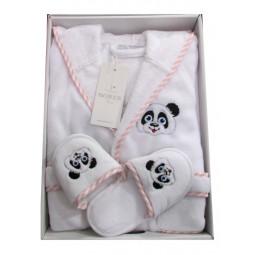 Махровый халат для мальчика или девочки с тапочками PANDA LUNA
