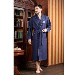 Бамбуковый вафельный халат (15120 синий)- Экстра мягкость!
