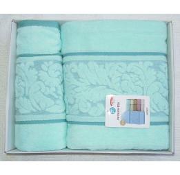 Комплект из 2-х нежных махровых полотенец Passionesa SEDEF(ментол). Подарочная коробка.