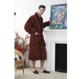 Мужской махровый халат RAIN (шоколад)