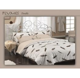 Изысканное постельное белье с вышивкой PLUMES. Сатин класса Люкс.