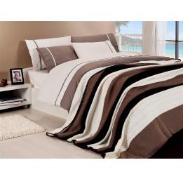 Сатиновое постельное белье с вязанным покрывалом NIRVANA SET(208 coffee)