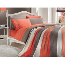 Сатиновое постельное белье с вязанным покрывалом NIRVANA SET(202 orange)