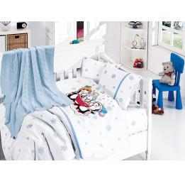 """Детское постельное белье из бамбука с вязанным покрывалом """"Пингвины""""(Penguins 405)"""