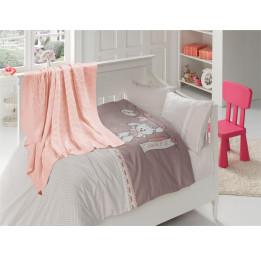 """Детское постельное белье из бамбука с вязанным покрывалом """"Бейби""""(Baby 407)"""