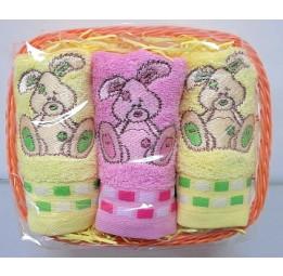 Набор из 3-х бамбуковых салфеток-полотенец Baby(ЕFW). Подарочная карзинка. 4-е расцветки.