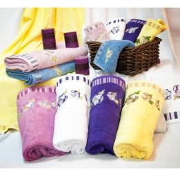 Бамбуковые полотенца ANNUTA(EFW). Набор из 2-х штук в подарочной коробке. 6-ть расцветок.