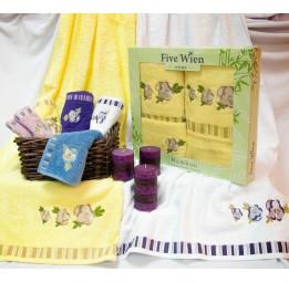 Бамбуковые полотенца ANNUTA(EFW). Набор из 3-х штук в подарочной коробке. 6-ть расцветок.