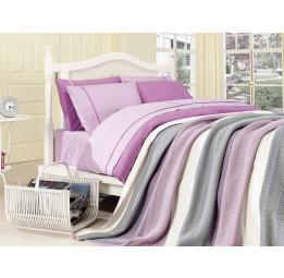 Сатиновое постельное белье с вязанным покрывалом NIRVANA SET(lila216)