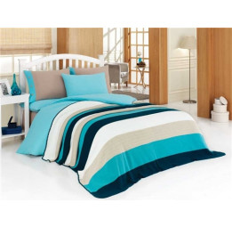 1,5 спальное постельное белье из сатина с вязанным покрывалом OTRUM(ЕА turkuaz)