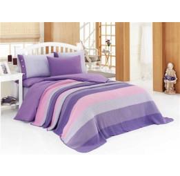 1,5 спальное постельное белье из сатина с вязанным покрывалом OTRUM(ЕА rose)