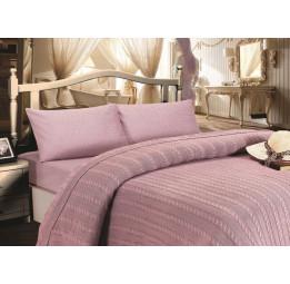 Шикарное постельное белье из сатина с вязаным одеялом - покрывалом JALE'S(EMD lila) - Хит продаж!