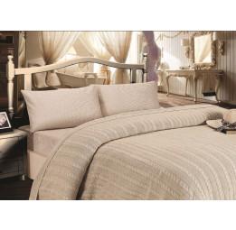 Шикарное постельное белье из сатина с вязаным одеялом - покрывалом JALE'S(EMD beige) - Хит продаж!