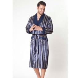 Мужской шелковый халат Dark blue(9015)