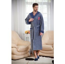 Бамбуковый махровый халат Italion SPORT(PECHE MONNAIE France 909grey/jeans)