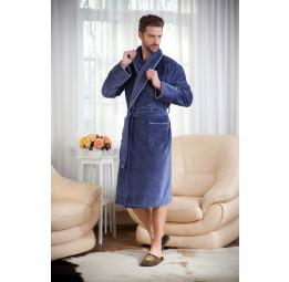 Мужской махровый халат STYLE Fume(серо-синий)