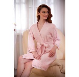 Махровый халат из бамбука с изысканными кружевами LISA (EMD). Подарочная коробка. 6-ть расцветок