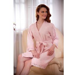 Махровый халат из бамбука с изысканными кружевами LISA'S(EMD 270). Подарочная коробка. 6-ть расцветок