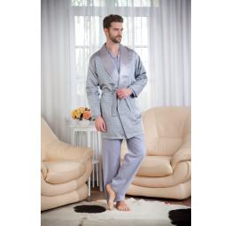 Набор для мужчин из хлопка c шелковым халатом ROP's Premium(1101 grey). 4-е предмета