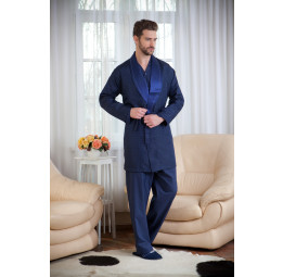 Набор для мужчин из хлопка c шелковым халатом ROP's Premium(1101 blue). 4-е предмета