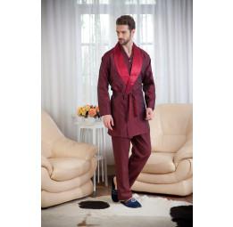 Набор для мужчин из хлопка c шелковым халатом ROP's Premium(1101 bordo). 4-е предмета