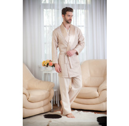 Набор для мужчин из хлопка c шелковым халатом ROP's Premium(1101 beige). 4-е предмета