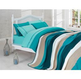 Сатиновое постельное белье с вязанным покрывалом NIRVANA SET(203 tur)