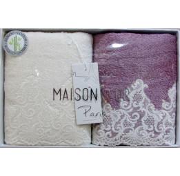 Набор махровых полотенец из бамбука с кружевом. JASMIN'S. 2-е штуки.(EMD175)