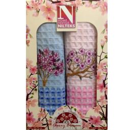 Набор из 2-х вафельных полотенец объемного плетения Cherry Blossom(Nilteks Sakura). Подарочная коробка.