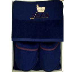 Мужской махровый набор для бани класса Люкс DUFOUR'S(EMD 279). С тапочками. 5-ть цветов. Подарочная коробка.
