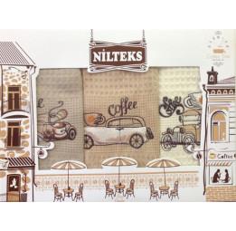 Набор из 3-х вафельных полотенец с вышивкой Coffee Time(EA Nilteks). Подарочная коробка.