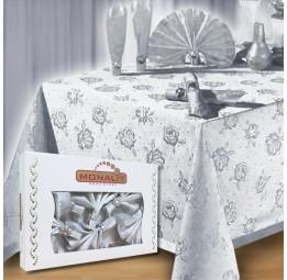 Скатерть с 6-ю салфетками и декоративными кольцами Monalit Delux(EA silver)