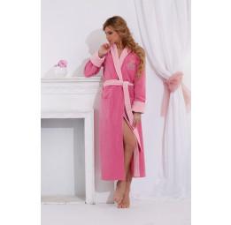 Удлиненный махровый халат из бамбука Lady Éva(PECHE MONNAIE France 717rose)
