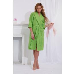 Вафельный халат с кружевом Лилия(салатовый)