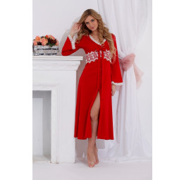 Изысканный халат Кружева (712 красный)