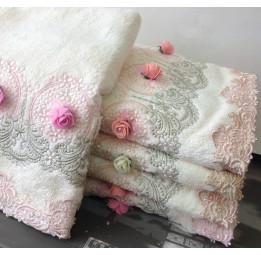 Шикарное махровое полотенце с кружевом LYLIUM(EA 5626/5627 P-la). 50х90 см.