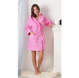 Коротенький махровый халат Роза (розовый)