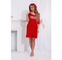 Трикотажный халат с капюшоном (713 красный)