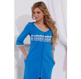 Трикотажный халат с капюшоном (713 голубой)