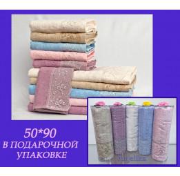 К 8 Марта! Бамбуковое полотенце с кружевом Anjelika(EFW). Подарочная туба с бантиком. 5-ть расцветок.