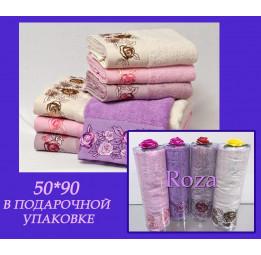 К 8 Марта! Бамбуковое полотенце с кружевом ROZA(EFW). Подарочная туба с бантиком. 5-ть расцветок.
