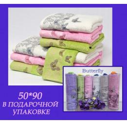 К 8 Марта! Бамбуковое полотенце с кружевом Butterfly(EFW). Подарочная туба с бантиком. 5-ть расцветок.