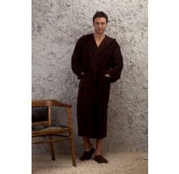 Мужской махровый халат с капюшоном - Шоколад(Е 901)