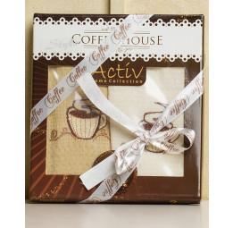 Набор из 2-х вафельных полотенец с вышивкой Coffee. Подарочная коробка с ленточкой.