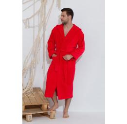 Спортивный махровый халат с капюшоном Just RED(E 901)